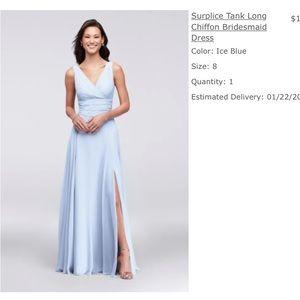 David's Bridal Tank Long Chiffon Bridesmaid Dress